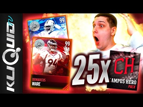 BEST PULL of MADDEN 17! 99 DeMARCUS WARE CAREER TRIBUTE PULL! 25x CAMPUS HERO PACKS MADDEN MOBILE!
