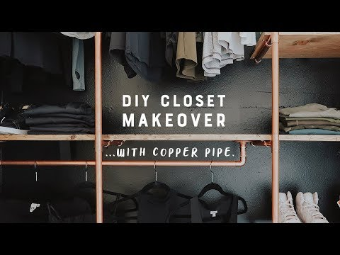 DIY Closet Makeover With Copper Pipe + Wood!!