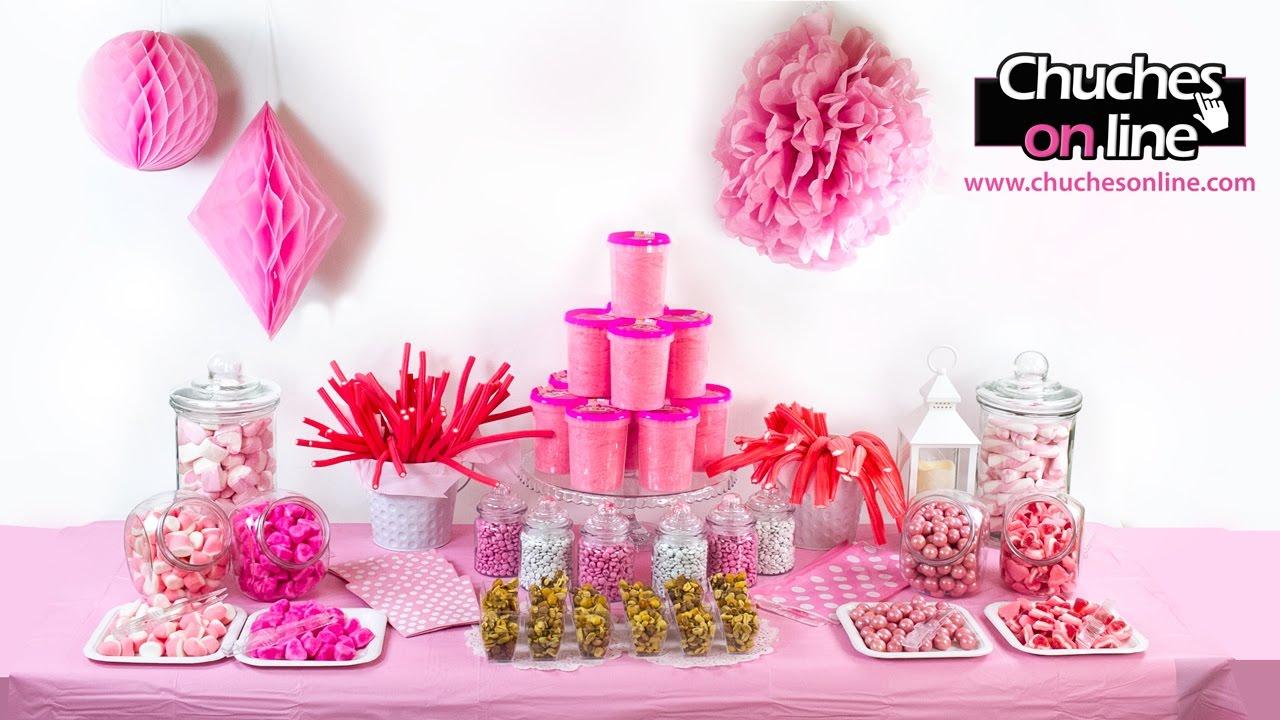 Mesa dulce color rosa para comuni n de ni a no te lo - Ideas para decorar mesas de chuches ...
