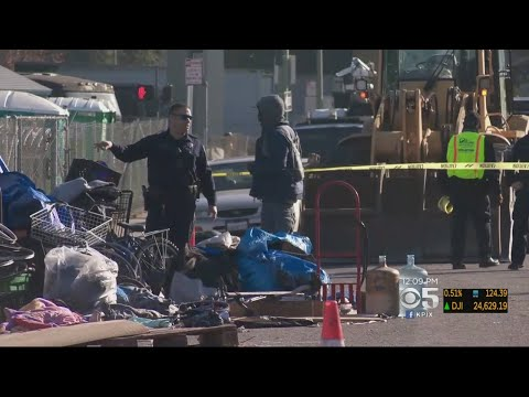 Public Works Crews Clear Massive Oakland Homeless Encampment