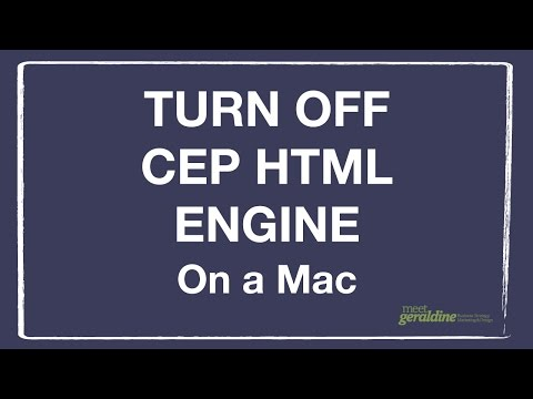 How To Turn Off CEP Html Engine On A Mac Computer | Tutorial