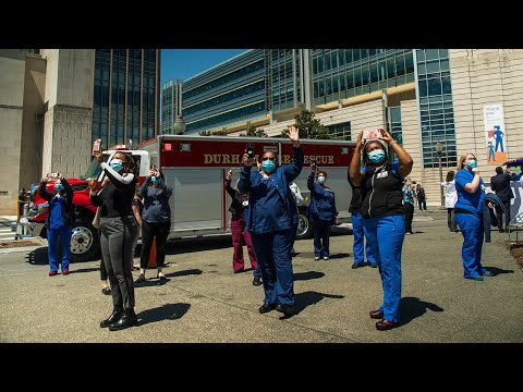 first-responders-parade-through-duke-university-hospital-to-thank-healthcare-workers