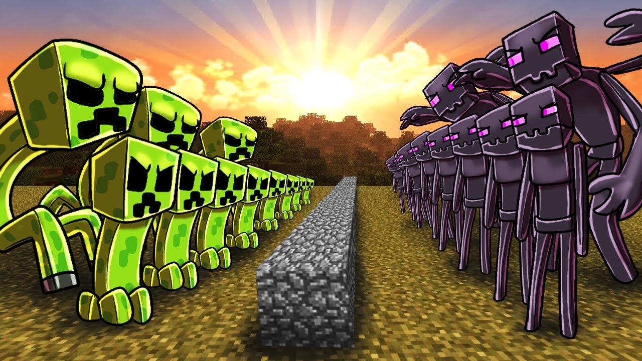 Minecraft creeper army vs enderman army massive mob - Minecraft zombie vs creeper ...