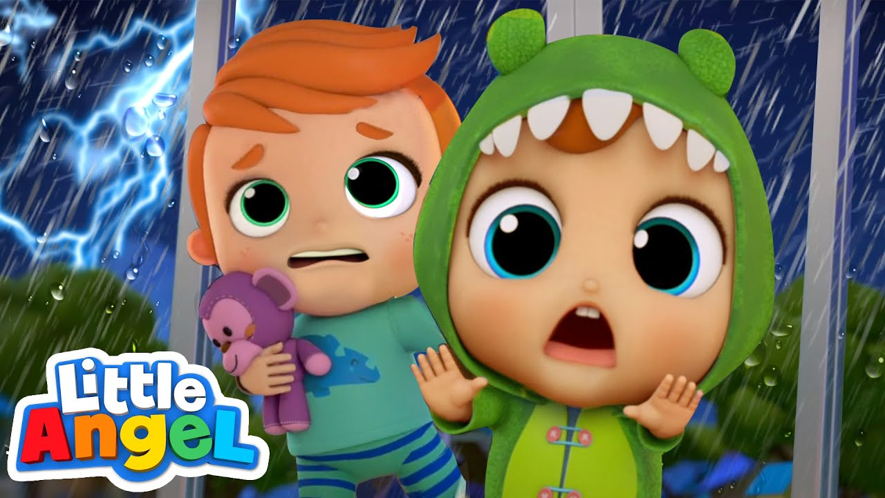 Storm Storm Go Away! | Scared of the Dark | Little Angel Kids Songs & Nursery Rhymes
