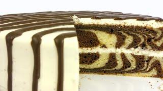 Торт 'Зебра'. Простой рецепт красивой и вкусной выпечки.