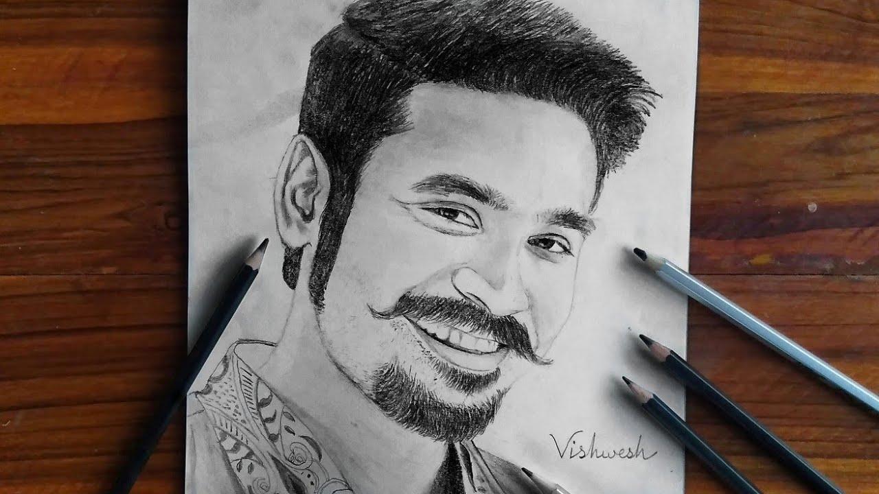 Maari 2 dhanush pencil drawing pencil sketch realistic pencil art vishweswar arts
