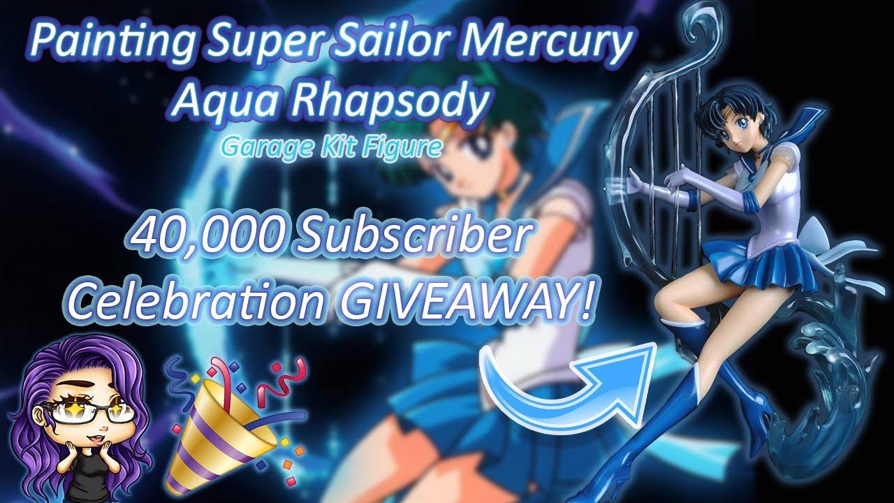40k Sub Celebration!🎉 Painting the coolest 🌊Super Sailor Mercury Resin Figure! (Giveaway CLOSED) 😱