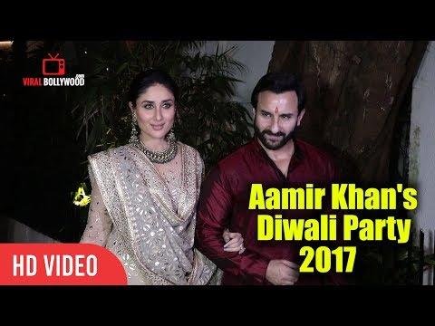 Gorgeous Kareena Kapoor Khan With Saif Ali Khan At Aamir Khan's Diwali Party 2017  Viralbollywood