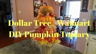 Dollar Tree | Walmart DIY Pumpkin Topiary | Farmhouse Pumpkin Topiary
