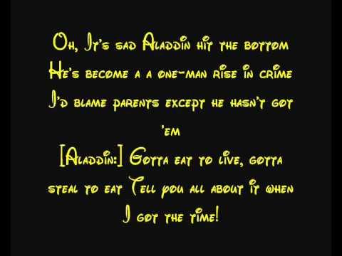 lyrics to aladdins one jump ahead youtube broadcast