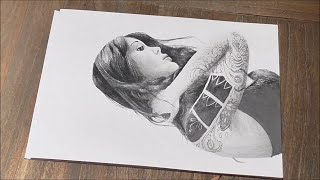 Drawing: How to draw a realistic face with pencil (speed drawing woman with tattoo)(Hey everyone! Here's my