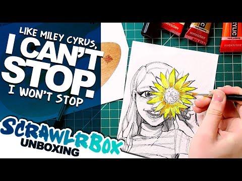 Trying ACRYLIC PAINT, watch me struggle...haha | Scrawlrbox Unboxing | DrawingWiffWaffles