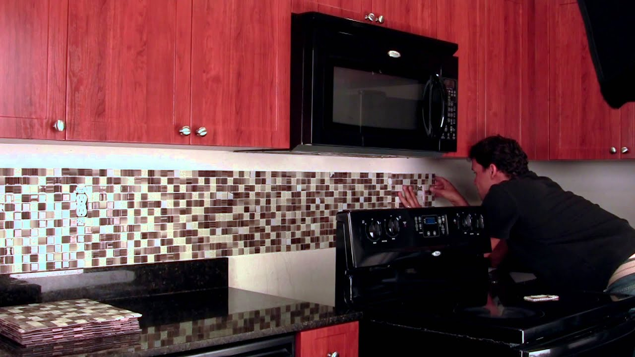 Sticky Backsplash For Kitchen Do It Yourself Backsplash Peel Amp Stick Tile Kit Youtube