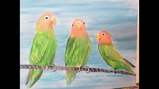 Fun and Easy Masterpiece in progress Birds on a wire. Paint along this little love birds with Kathy.