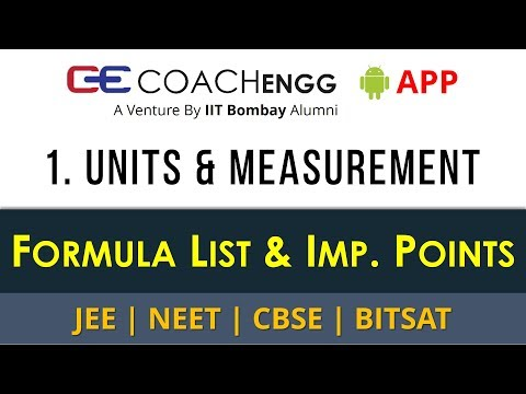 Units and Measurement – Formula List and Important Points for Revision