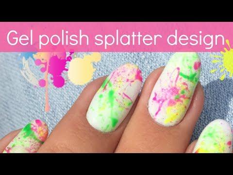 easy summer nail design with gel polish  neon splatter