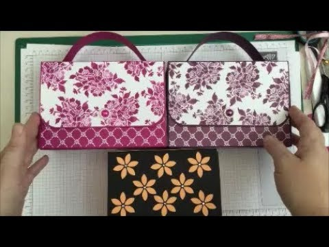 Gorgeous!! Double Fold Flap Handbag Card Gift  Set Tutorial, Stampin Up Fresh Florals