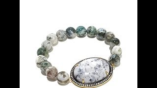 Rarities Dalmatian Chalcedony And Zircon Bracelet