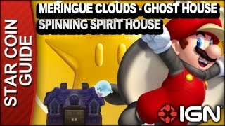 New Super Mario Bros. U 3 Star Coin Walkthrough - Meringue Clouds-Ghost House: Spinning Spirit House