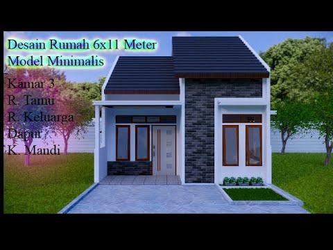 desain rumah minimalis sederhana 6x11 meter/ 3 kamar + r