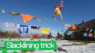 Slackliner Performs Amazing Trick on Laundry Clotheslines