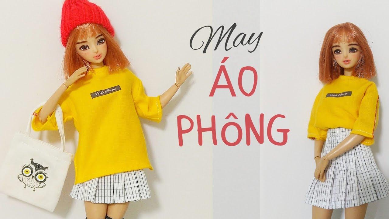 May ÁO PHÔNG FORM RỘNG CHO BÚP BÊ/DIY easy 👗✂️make a freesize T-shirt for barbie doll| BÚP BÊ MÍA