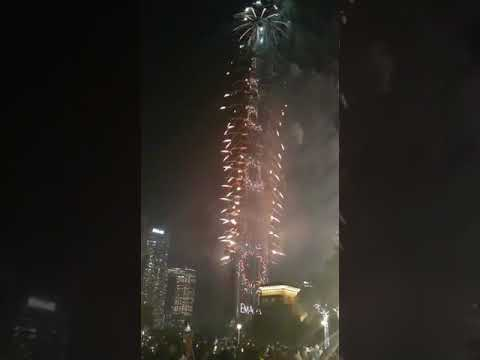 Burj Khalifa fireworks light up the sky, 2020