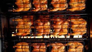 Tasty Rotisserie Chicken Roasting In Mexico