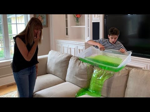 covering couch in SLIME prank on Mom