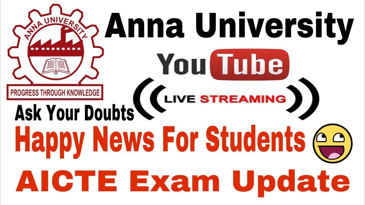 Anna University | Exams Latest Happy Update | Live | Tamil