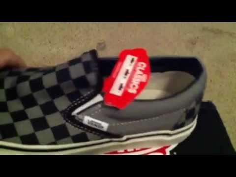 8fc5b002d5ac Vans Checkerboard Black Grey Classic Slip-Ons - YouTube