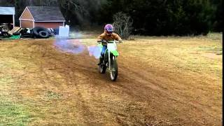 Jace Practicing Wheelies On The KX80 And YZ80