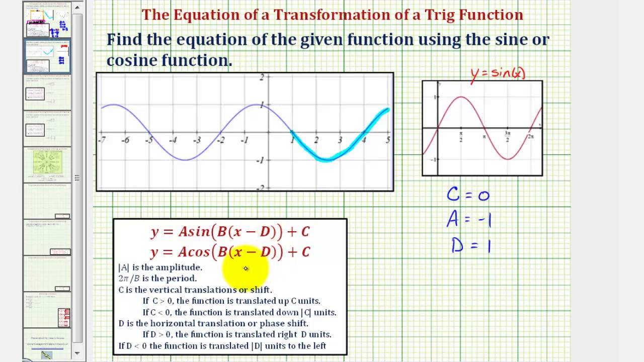 how to write sine equation from graph