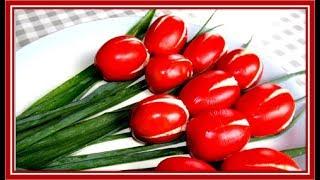 Тюльпаны из помидоров или как украсить свой стол цветам