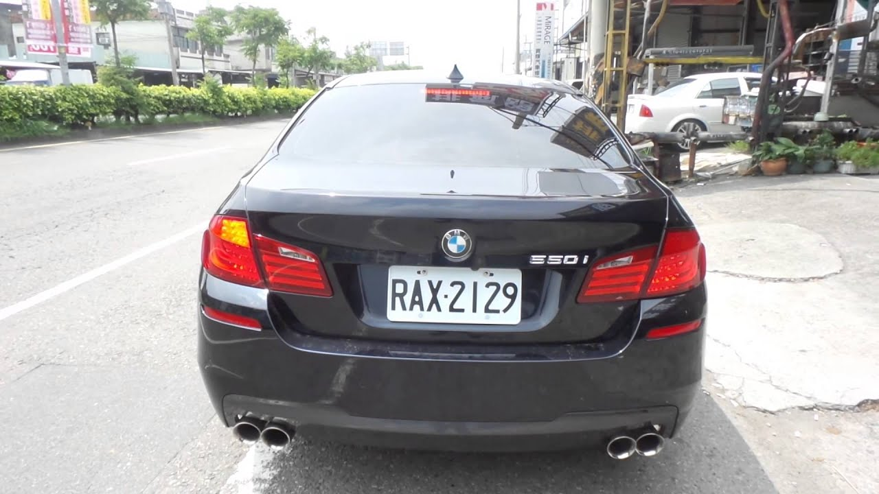 BMW F10 550I 改裝Q桑~排氣舘 專業設計 可變式排氣閥門中尾段 智慧型控制器 四出M5樣式排氣管 - YouTube
