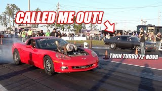 7.5 Second Twin Turbo Nova CALLS OUT Ruby!!! (Loser Sprints 5 Laps at the Freedom Factory)