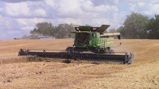 Big Wheat Harvest with 8 John Deere S690 Combines