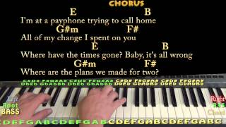 Payphone - Piano Cover Lesson with Chords and Lyrics