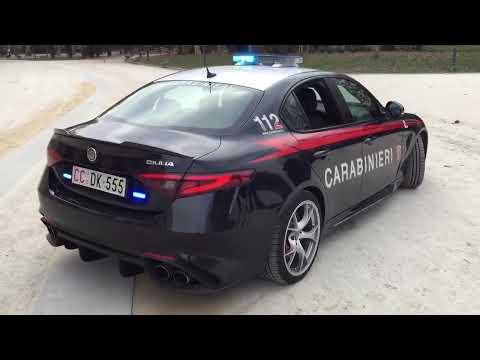 Alfa Romeo Giulia Quadrifoglio Verde Carabinieri exhaust Sound
