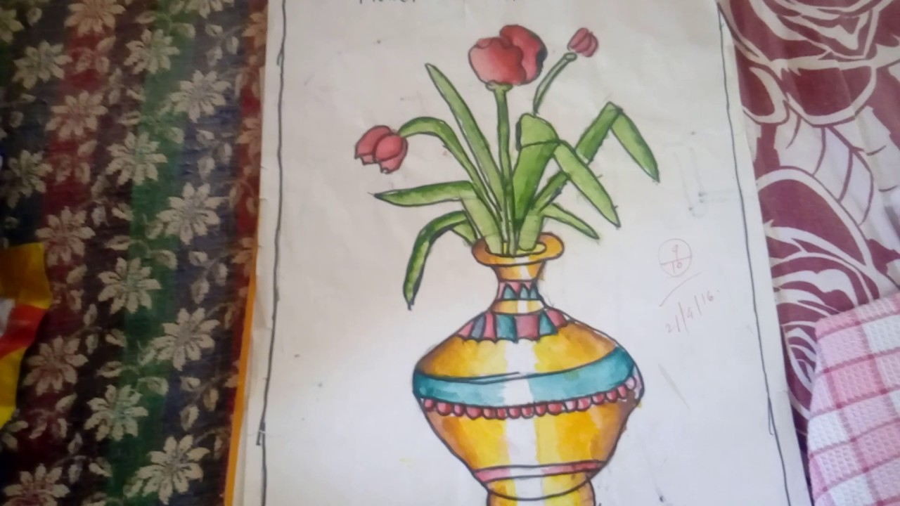 Draw Simple Flower Pot Youtube