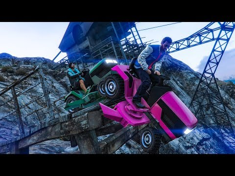 Downhill Lawn Mower Stunt Race - GTA V Online Funny Moments | JeromeACE