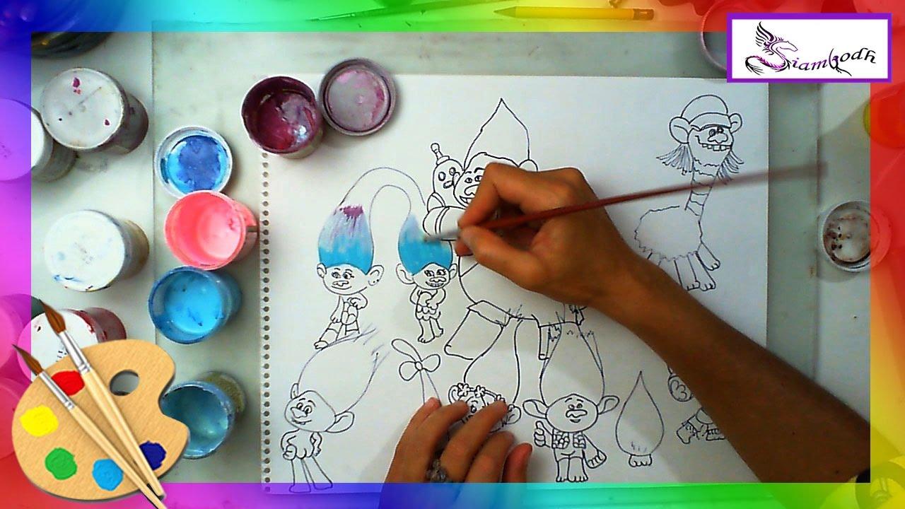 Como Dibujar Y Pintar A Los Trolls Todos Los Amigos Dibujo Fácil
