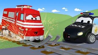 Der Streifenwagen in Autopolis -  Gebrochene Schienen - Lastwagen Zeichentrickfilme für Kinder 🚓 🚒