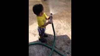 Ahrod learning to wash the car