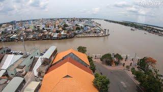 Cafe tầng 8 Cửu Long hotel ngắm kênh Bảo Định lịch sử đổ ra sông Mekong ở Mỹ Tho | Viva Star Coffee