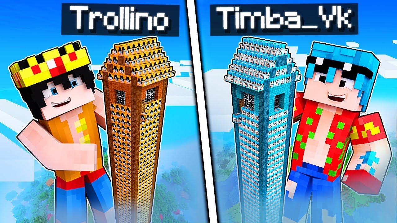 MINECRAFT: BASE TITÁN TROLLINO VS BASE TITÁN TIMBA 😱 Las TORRES más ALTAS de MINECRAFT
