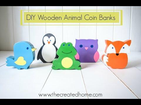 DIY Wooden Animal Coin Banks
