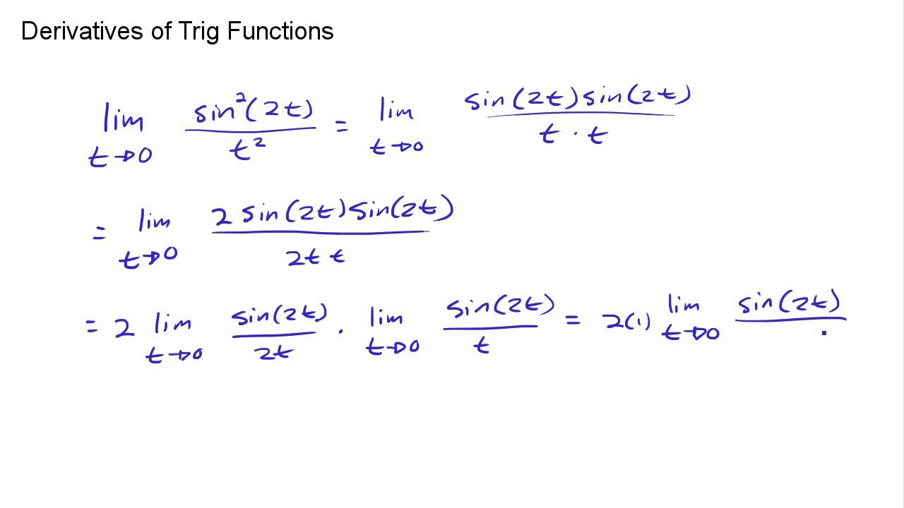 Calc 2.4 - Derivatives of Trig Functions - A limit with Sin(Theta ...