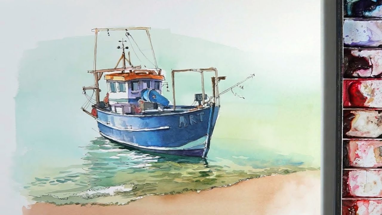 Line and wash Watercolor :a small fishing boat near the ...