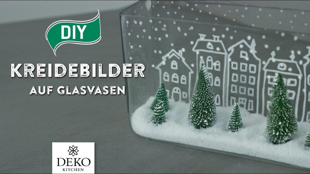 Diy Weihnachtsdeko Mit Trendigen Kreidebildern Auf Glasvasen How
